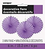 Unique Party - 63252 - Paquet de 3 Mini Rosaces de Décoration en Papier de Soie - Violet