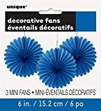 Unique Party - 63257 - Paquet de 3 Mini Rosaces de Décoration en Papier de Soie - Bleu Roi