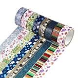 UOOOM 6 rouleaux Washi Tape Ruban Adhésif Papier Décoratif Masking tape Scrapbooking (Pattern-1)