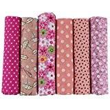 UOOOM Lot de 6pcs 50 x 50 cm Patchwork coton tissu DIY Fait à la main en tissu à coudre ...