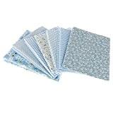 VANKER 7Pcs 50*50CM Point Floral Bleu Patchwork Tissus d'artisanat Couture Empaqueter