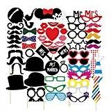 veewon photobooth Funny 58pièces DIY Kit pour fête de mariage anniversaire Réunions photobooth Accessoire Déguisement Accessoires Moustache sur une canne, ...