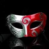 Veewon Romaine grecque masque vénitien masques costume d'Halloween robe de bal masque masque de fête (Argent + Rouge)