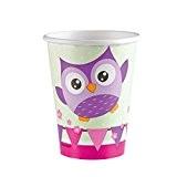 Verres en carton anniversaire d'enfant hibou 8 gobelets chouette 266 ml Gobelets de fête tasses jetables oiseau décoration d'ambiance fêtes ...