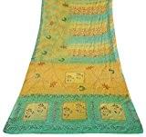 Vintage floral imprimé crêpe soie Saree jaune Antique Sari artisanat tissu 5 Yard
