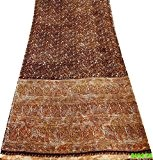 Vintage Imprimé Sari Indien Femmes Habillement Bricolage Artisanat Tissu Sarong Robe Soie Mélanger Brun Envelopper Saree 5Yd