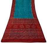 Vintage Saree de soie pure indienne Bandhani imprimé Sari bleu Tissu d'artisanat 5YD