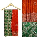 Vintage Saree Indien Art Soie Brodée Artisanat Orange Sari Tissu Usagé 5 Cour