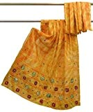 Vintage Saree indien brodé Jaune Artisanat Sari Antique Tissu 5 Yard