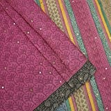 Vintage Saree Indien Khadi Silk Mauve Floral Imprimé Usagé Sari Craft Fabric 5YD