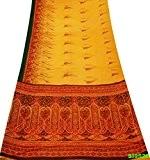 Vintage Sari Yellow Craft Couture Tissu Soie Blend Imprimé floral bricolage Décor femmes Wrap Drapé Saree