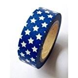 Washi Tape 15mmX10m-bleu/blanc étoiles