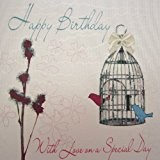 white cotton cards Carte d'anniversaire Inscription Happy Birthday with Love on a Special Day Carte faite à la main, en ...