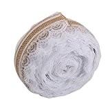WINOMO 10M ruban hessienne lacets artisanat de décoration bricolage (marron + blanc)