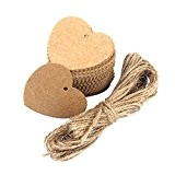 WINOMO Mariage coeur parti en forme d'étiquette en papier Kraft festonné avec 10M corde 100pcs (brun)
