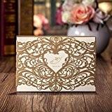Wishmade CW5018 Cartes de vœux mariage Invitations de fête Motif cœur découpé au laser