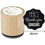 Woodies monté Tampon en caoutchouc 1.35-inch Thank You Merci de Garcia, acrylique, multicolore, 3pièces
