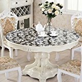 XMMLL Chiffons d'Pvcround-Table sets de table ronde nappe imperméable résistante à l'encontre de repose-fer Money-Plastic,clavier nappe fleurs en verre noir, ...