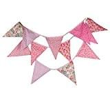 yalulu 12Drapeaux 3,2m en coton design floral rose Tissu Guirlande Bannière fanions drapeaux mariage/anniversaire/bébé douche Décoration de Fête