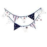 yalulu 12Drapeaux 3,2m Thème Pirate en tissu coton bannière fanions drapeaux Guirlande mariage/anniversaire/bébé douche Décoration de Fête