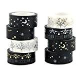 Yalulu 8pcs Noir Blanc décoratif Washi Ruban adhésif de masquage adhésif Scrapbooking DIY Craft Cadeau