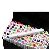 yalulu Graphic stylo marqueur-Animation Design 60couleurs-Encre à base d'alcool-Pointe Large et pointe fine Noir avec sac (60couleurs)