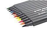 yalulu Stylos Couleurs pointe fine marqueurs pointe pinceau stylo, tête double Parfait pour coloration livres, dessin, art, l'école et le ...