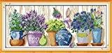 YEESAM ART Nouveau Point de Croix Kits de Broderie au Avancée - Une fleur pot sur la rebord de fenêtre ...