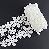 Yontree 2 Yards Dentelle Guipure Floral Applique en Coton Galon Lace Scrapbooking Blanc