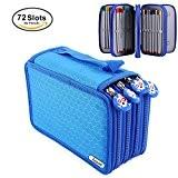 Yosoo 72 pièces couleurs crayon stylo affaire sac pochette stationnaire avec grande capacité Oxford multicouche crayon organisateur (bleu)