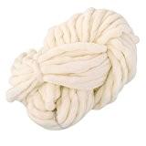 Yunt 250g Pelote de Grosse Laine Fils a Tricoter pour Echarpe Bonnet (Blanc Laitier)