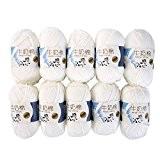 Yunt 500g Coton Lait 10 Pelotes Fil a Tricoter Laine pour Bebe Doux et Beau (Blanc)