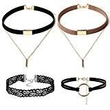 zhyy 4pièces Parure Collier Ras du Cou Gothique Dentelle Rétro en cuir en métal Marron Bar pendentif collier ras de ...