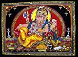 1x tissu en coton Seigneur Ganesh/Ganesha Ganpati/Yoga 109,2x 76,2cm Tapisserie