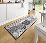 102370 Tapis de cuisine design velours Motif tasse de café Gris 67x 180cm