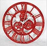 12 '' Grande Taille MéCanique éLéMents De Style Mouvement Quartz Rond DéCoratifs 3D Gear Design RéSine Vintage Horloge Murale Rouille ...