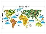 1333 Wall stiker Grande Carte du monde