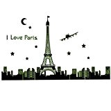165 * * * * * * * * 92 cm I Love Paris Tour Eiffel nuit PVC Sticker mural amovible Motif ...