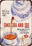 1952prendre de thé et de voir un aspect vintage Reproduction plaque en métal 20,3x 30,5cm