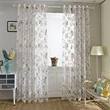 2 pcs Kinlo® Rideau de Fenêtre des Fleurs pour Salon et Décoration Chambre en Voile Rose 145 * 245cm