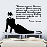 2 Sticker mural en vinyle citation Audrey Hepburn Art Celebrity Célèbre 60 cm x 76 cm