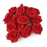 20pcs Têtes de Fleurs Roses Artificielles Décoration de Mariage (Rouge)