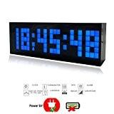 23,5cm Trois Dimension Pendule murale électronique Moderne Grand Chiffre Digitale 3D Horloge murale à Bleu LED Horloge de bureau/Salon avec ...