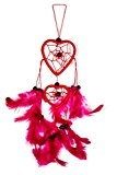 25cm x 6 cœur amour Dreamcatcher Capteur de rêves rouge Rose Fuchsia Voiture decoration