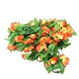 2pcs Plantes Grimpantes Artificielles de Jasmin d'hiver pour la Décoration de Jardin / Maison - Jaune rougeâtre