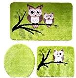 3pièces Ensemble salle de bain Tapis avec motif chouettes, 50cm x 80cm (Grande) Kiwi Vert pour WC suspendu