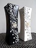 30cm moderne en céramique avec strass et paillettes fleur vase en noir ou blanc par Homestreet