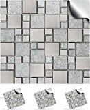 30 Stickers muraux de carrelage mosaïque auto adhésif pour des carreaux de 15cm –(30xTP 71- 6in- Silver Chrome)- Transferts de ...