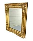 32x27x3cm miroir mural rectangulaire, cadres anciens cru à la main en bois, or, incl. Assemblée