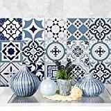 36 carrelage 15x15 cm - PS00099 PVC autocollants carreaux pour salle de bains et cuisine Stickers design - bleu Fès